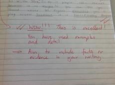 teacher comment